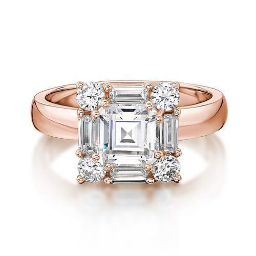 Princess Step Cut and Baguette Cut Dress Ring in Rose Gold