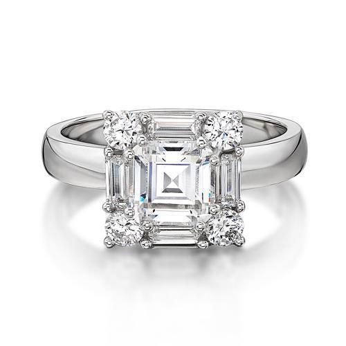Princess Step Cut and Baguette Cut Dress Ring in White Gold
