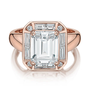 Emerald and Baguette Cut Claw Set Dress Ring in Rose Gold