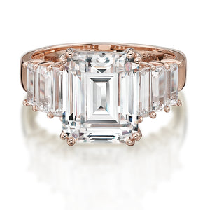 Emerald Cut Claw Set Ring in Rose Gold