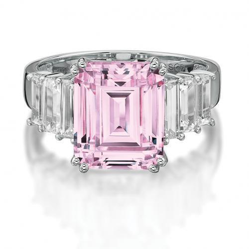 Emerald Cut Claw Set Ring - Pink Colour in White Gold