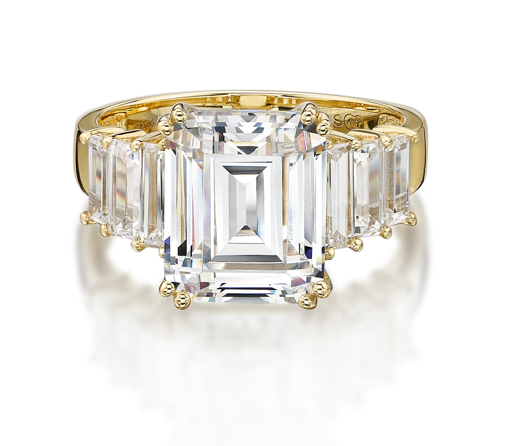 Emerald Cut Claw Set Ring in Yellow Gold