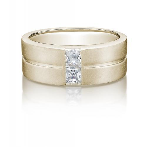Mens Princess Cut Band in Yellow Gold
