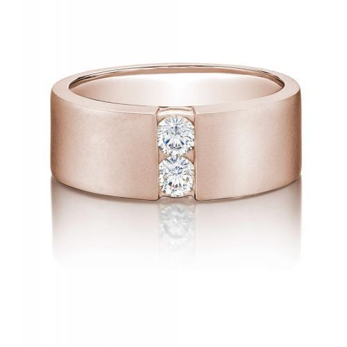 Mens Round Brilliant Cut Band in Rose Gold