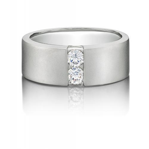 Mens Round Brilliant Cut Band in White Gold