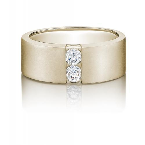 Mens Round Brilliant Cut Band in Yellow Gold