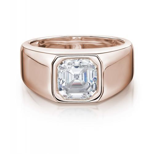 Mens Bezel Set Asscher Cut Band in Rose Gold