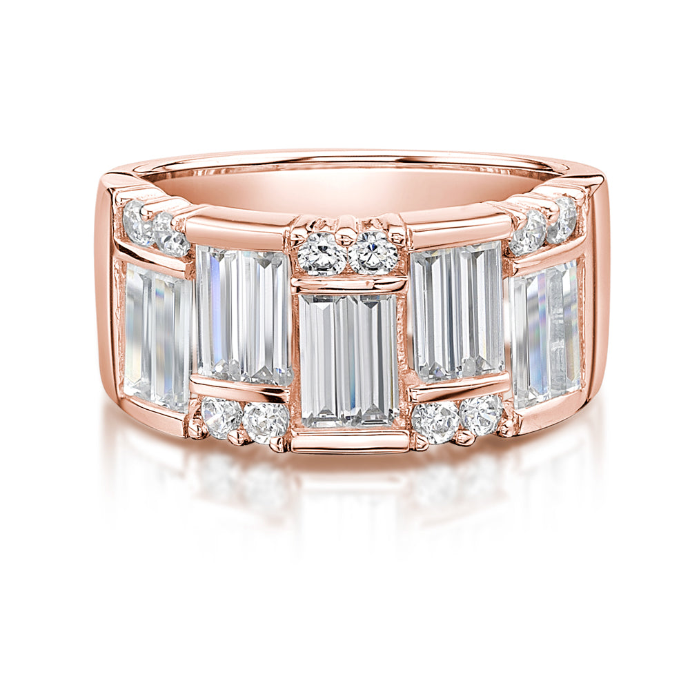 Baguette & Round Dress Ring in Rose Gold