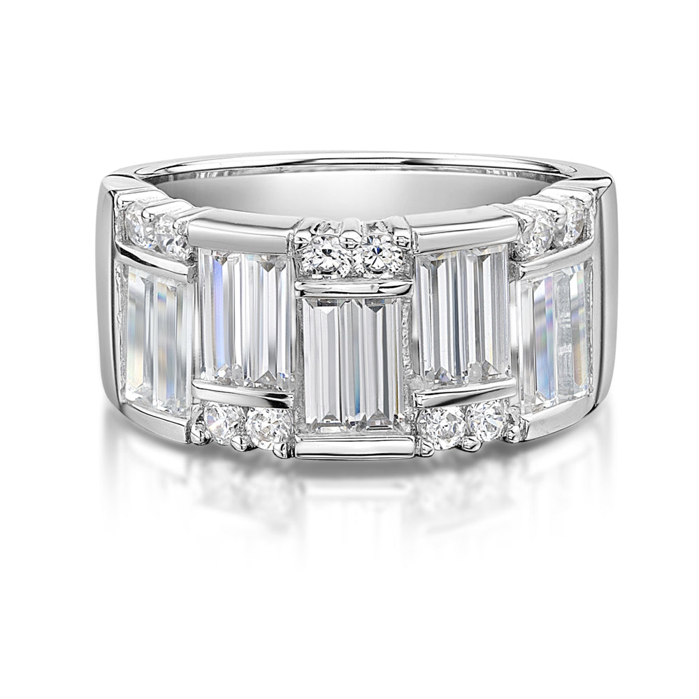 Baguette & Round Dress Ring in white Gold