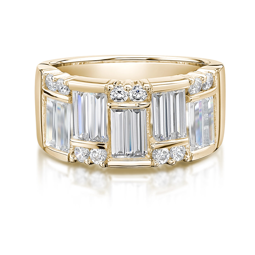 Baguette & Round Dress Ring in Yellow Gold
