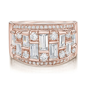 Baguette & Round Fancy Dress Ring in Rose Gold