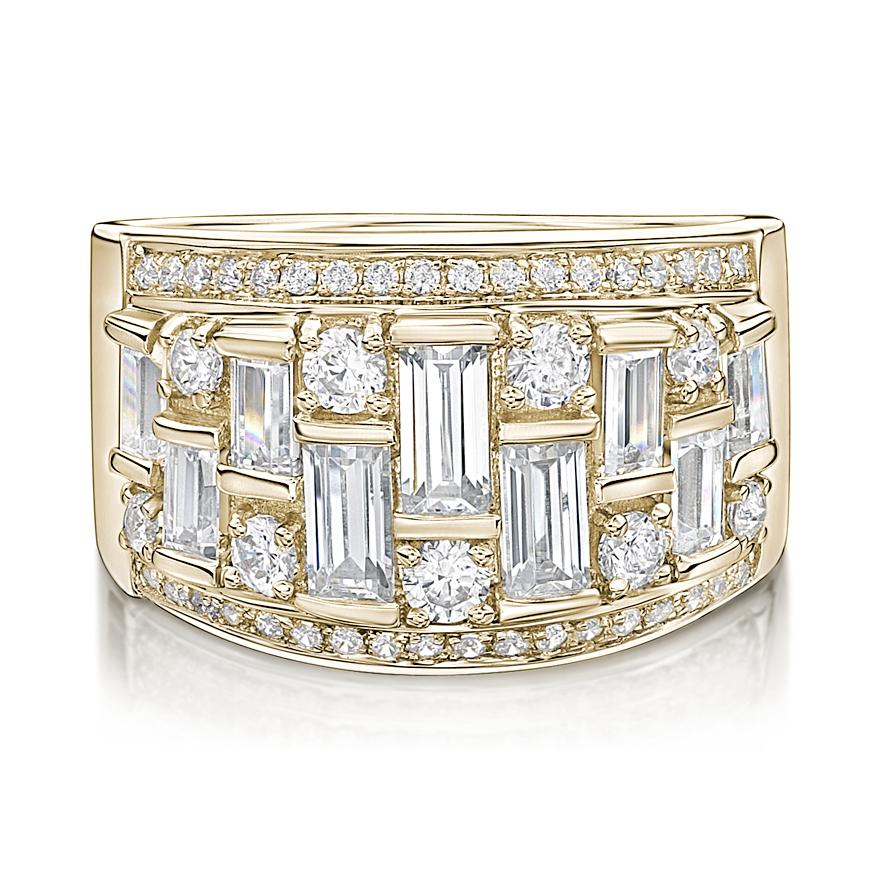 Baguette & Round Fancy Dress Ring in Yellow Gold