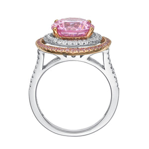Round Brilliant Cut Double Halo Dress Ring with Pink Diamond Simulant in White Gold