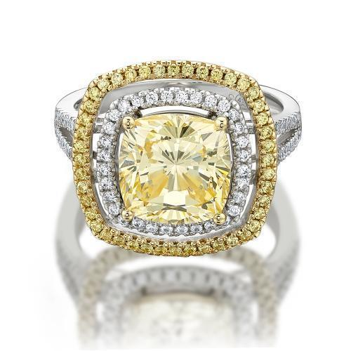 Cushion Cut Double Halo Dress Ring with Yellow Diamond Simulant in Yellow Gold w/ White Gold Setting