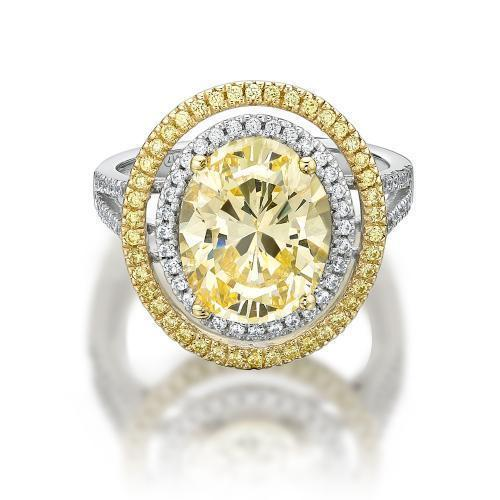 Oval Cut Double Halo Dress Ring with Yellow Diamond Simulant in White Gold