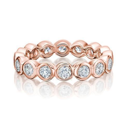 Round Brilliant Bezel Set All-Rounder Band in Rose Gold