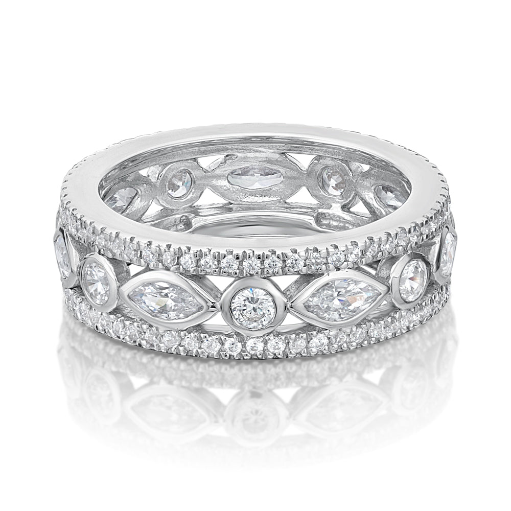 Round Brilliant & Marquise Cut All-Rounder Band in White Gold