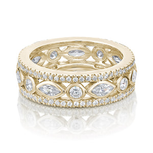 Round Brilliant & Marquise Cut All-Rounder Band in Yellow Gold