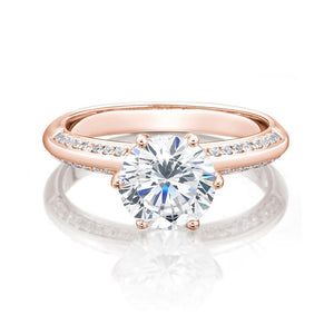 Round Brilliant Cut Knife Edge Engagement Ring with Side Stones in Rose Gold