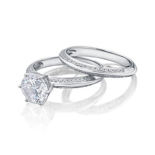 Round Brilliant Cut Knife Edge Engagement Ring and Band Set in White Gold