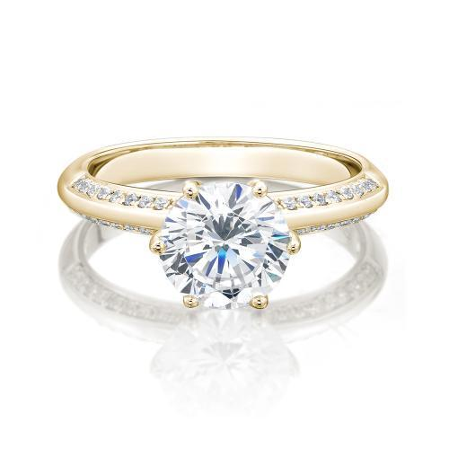 Round Brilliant Cut Knife Edge Engagement Ring with Side Stones in Yellow Gold