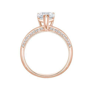 Pear Cut Knife Edge Engagement Ring and Band Set in Rose Gold
