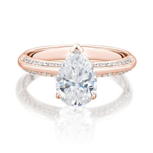 Pear Cut Knife Edge Engagement Ring with Side Stones in Rose Gold