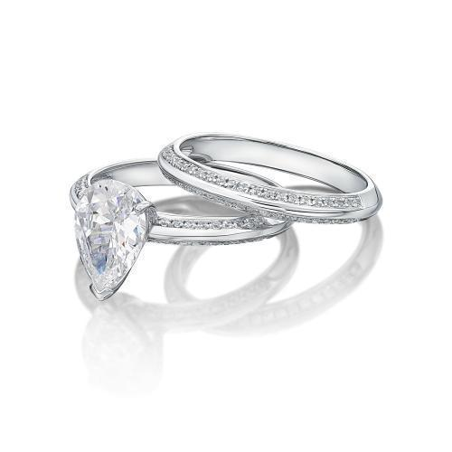 Pear Cut Knife Edge Engagement Ring and Band Set in White Gold