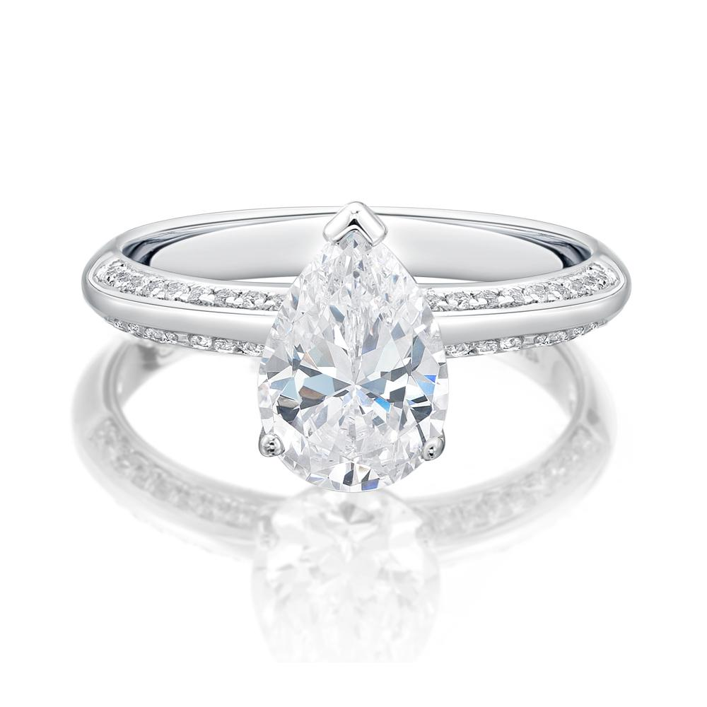 Pear Cut Knife Edge Engagement Ring with Side Stones in White Gold