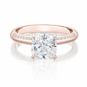 Cushion Cut Knife Edge Engagement Ring with Side Stones in Rose Gold