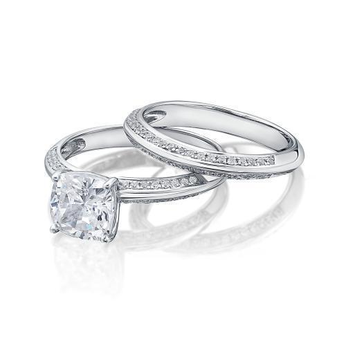 Cushion Cut Knife Edge Engagement Ring and Band Set in White Gold