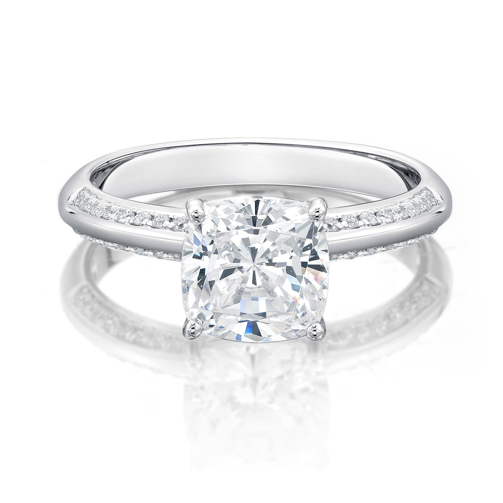 rings main product cushion angelika halo diamond cut engagement ring with sylvie