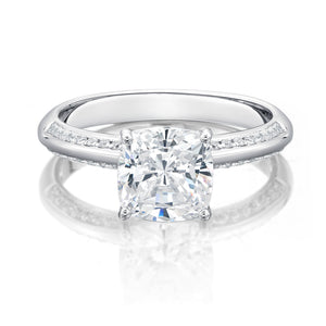 Cushion Cut Knife Edge Engagement Ring with Side Stones in White Gold