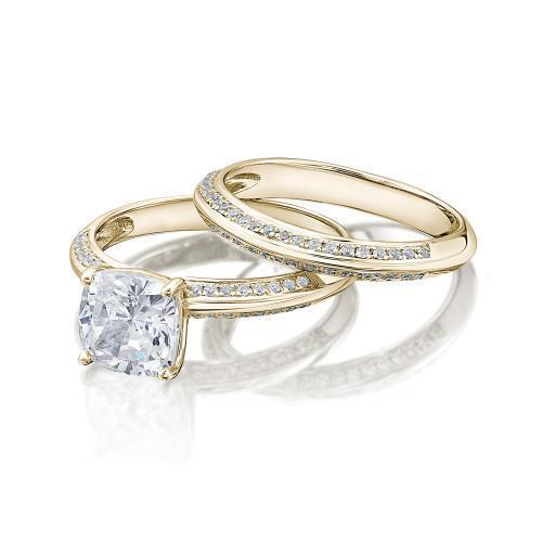 Cushion Cut Knife Edge Engagement Ring and Band Set in Yellow Gold