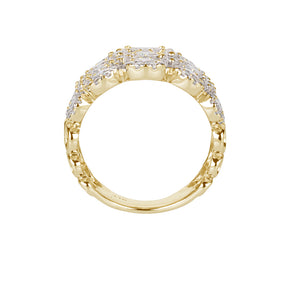 Celeste Four Row Round Brilliant Ring in 14ct Yellow Gold