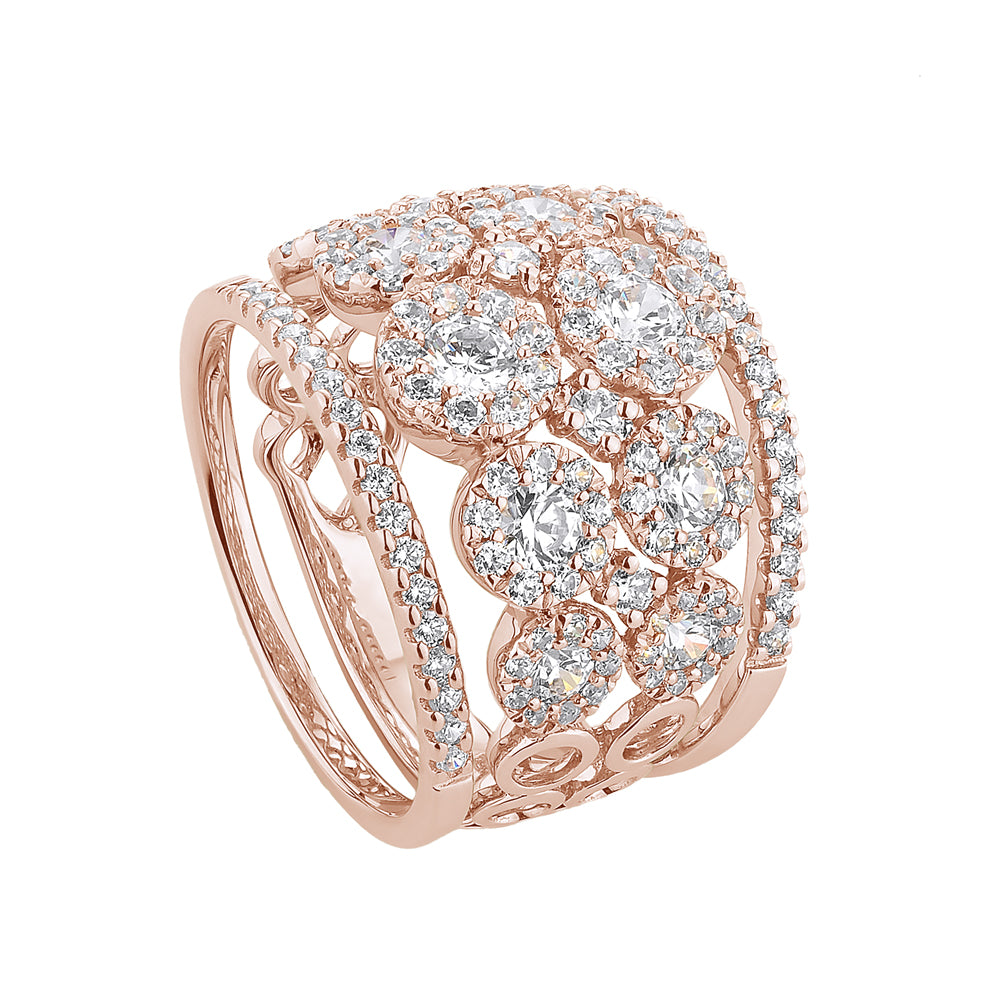 Celeste Double Row Round Brilliant Ring with Round Brilliant Wedding Bands in Rose Gold