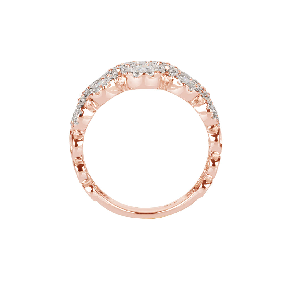 Celeste Double Row Round Brilliant Ring in 10ct Rose Gold