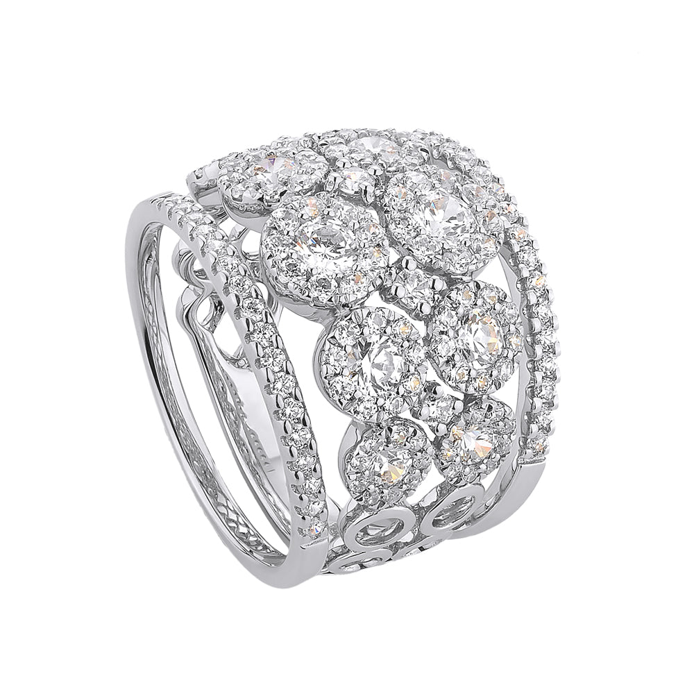 Celeste Double Row Round Brilliant Ring with Round Brilliant Wedding Bands in White Gold
