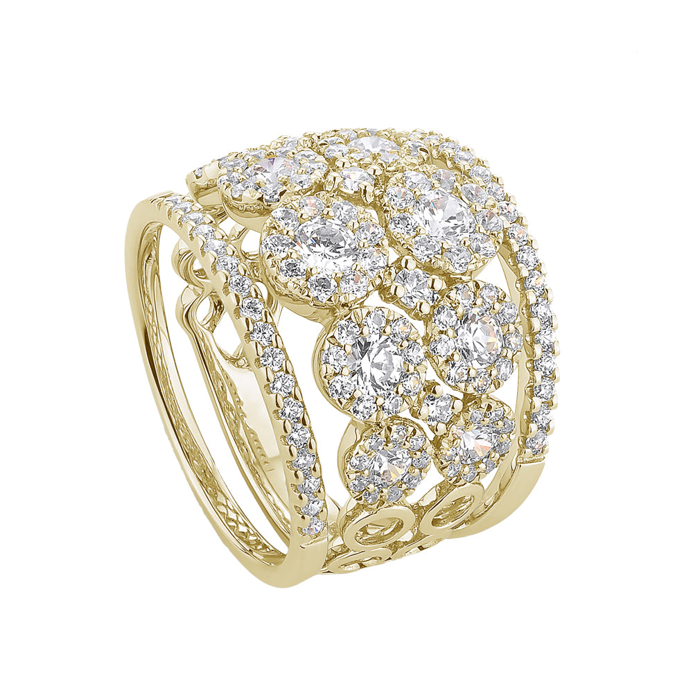 Celeste Double Row Round Brilliant Ring with Round Brilliant Wedding Bands in Yellow Gold