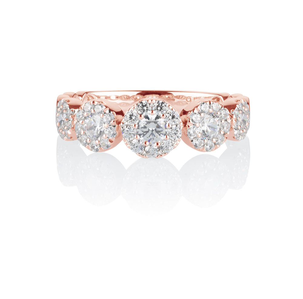 Celeste Single Row Round Brilliant Ring in 10ct Rose Gold