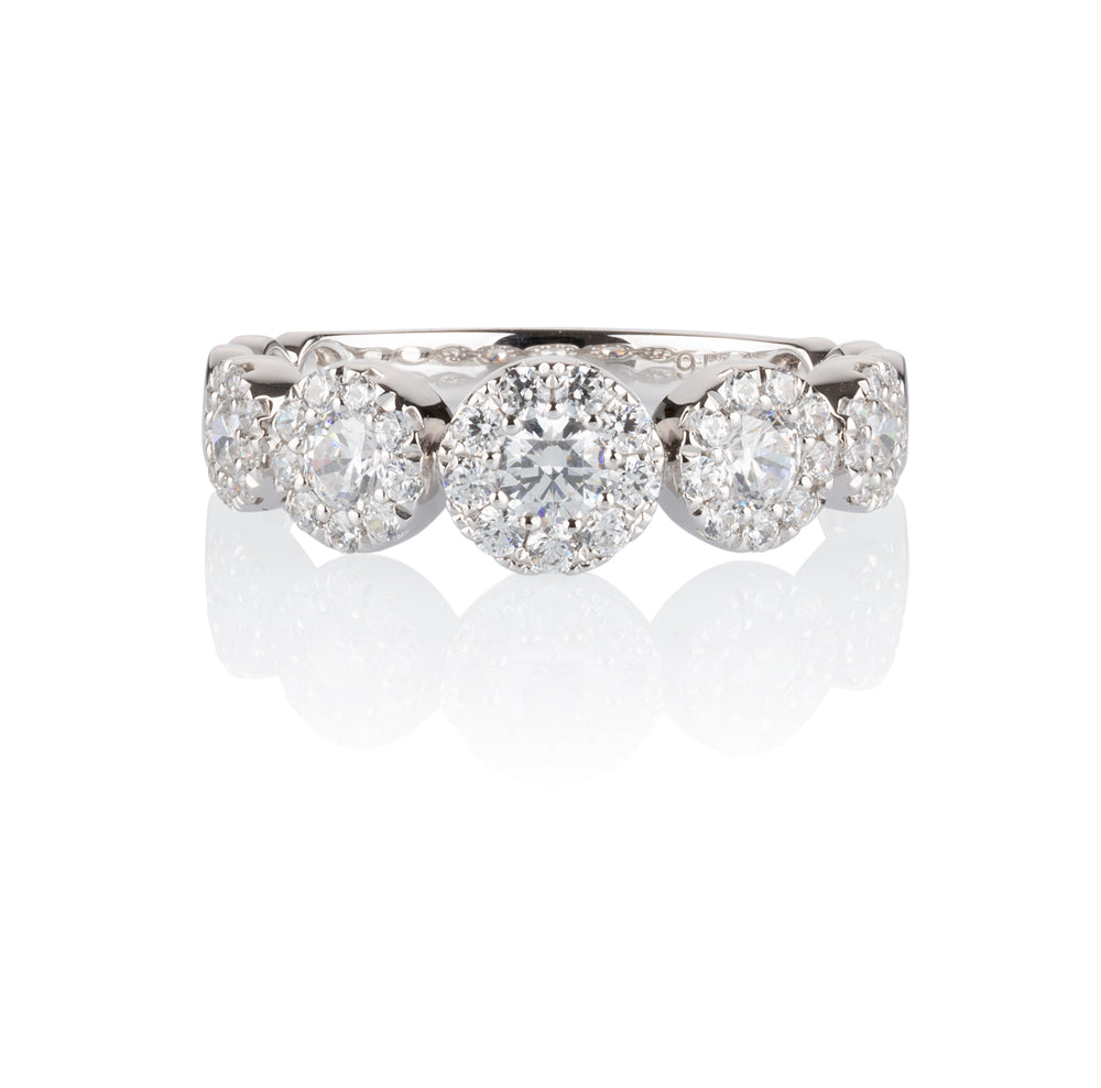 Celeste Single Row Round Brilliant Ring in 10ct White Gold
