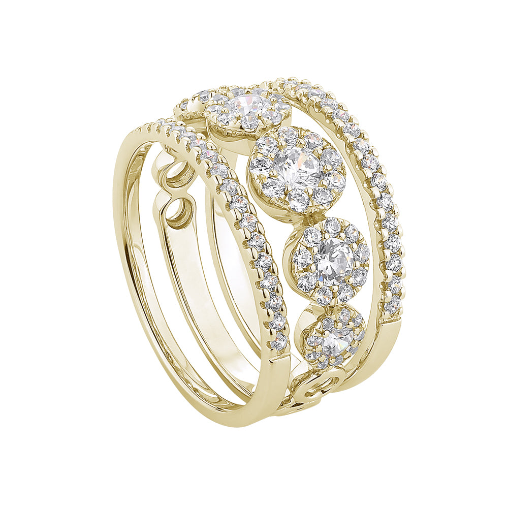 Celeste Single Row Round Brilliant Ring with Round Brilliant Wedding Bands in Yellow Gold