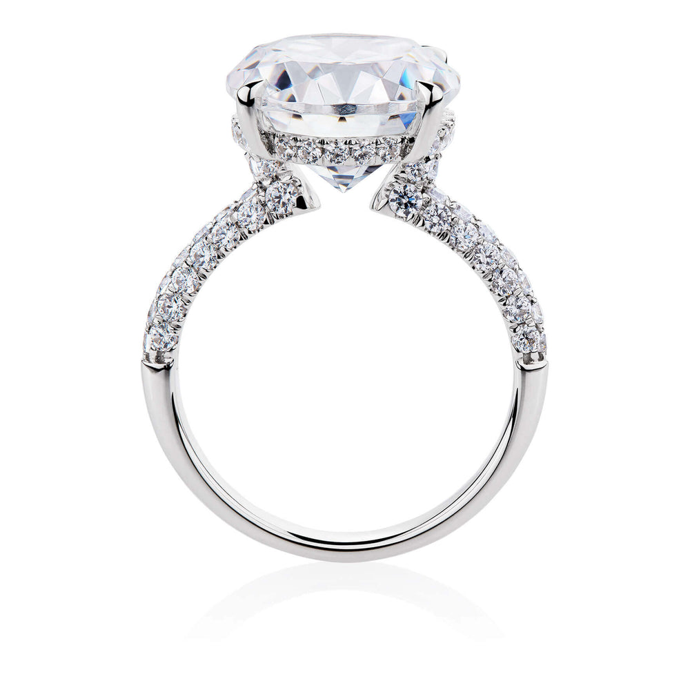 Oval and Round Brilliant Cut Pave Set Ring in 10ct White Gold