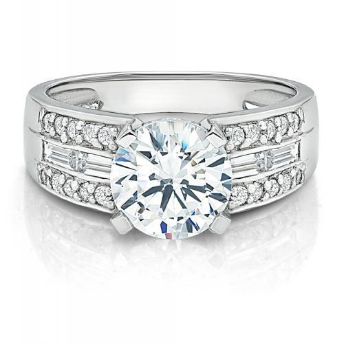 Round Brilliant and Baguette Channel Set Ring in White Gold