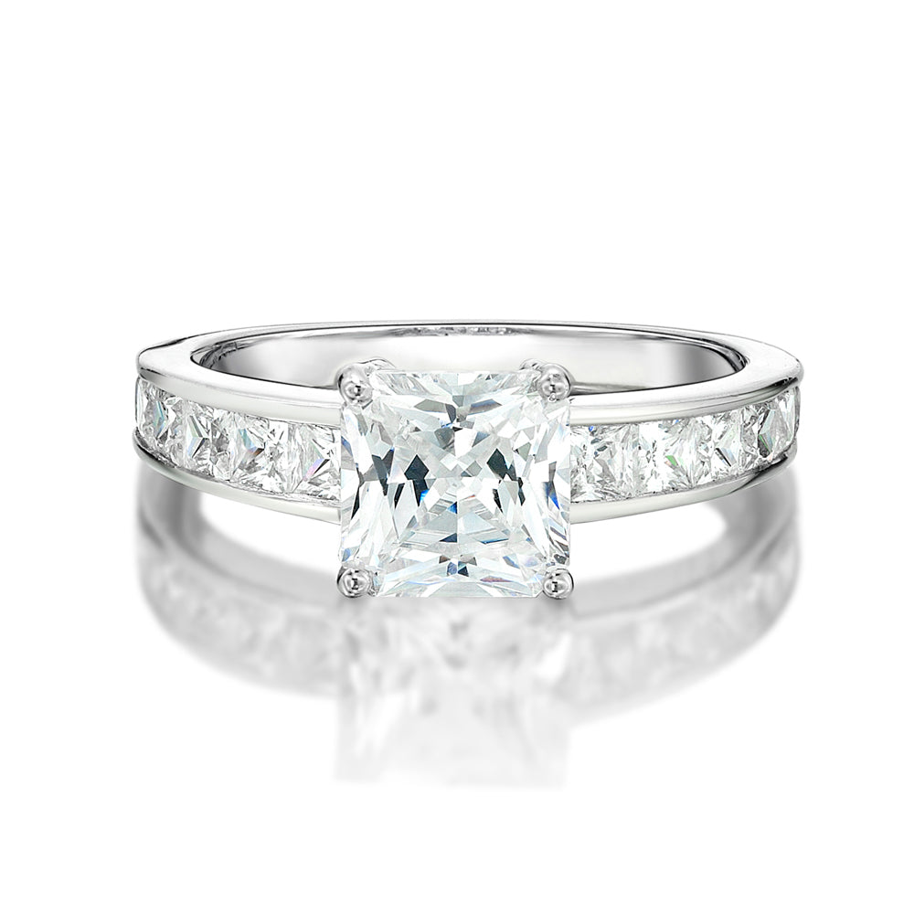 Princess Cut Engagement Ring With Side Stones in White Gold