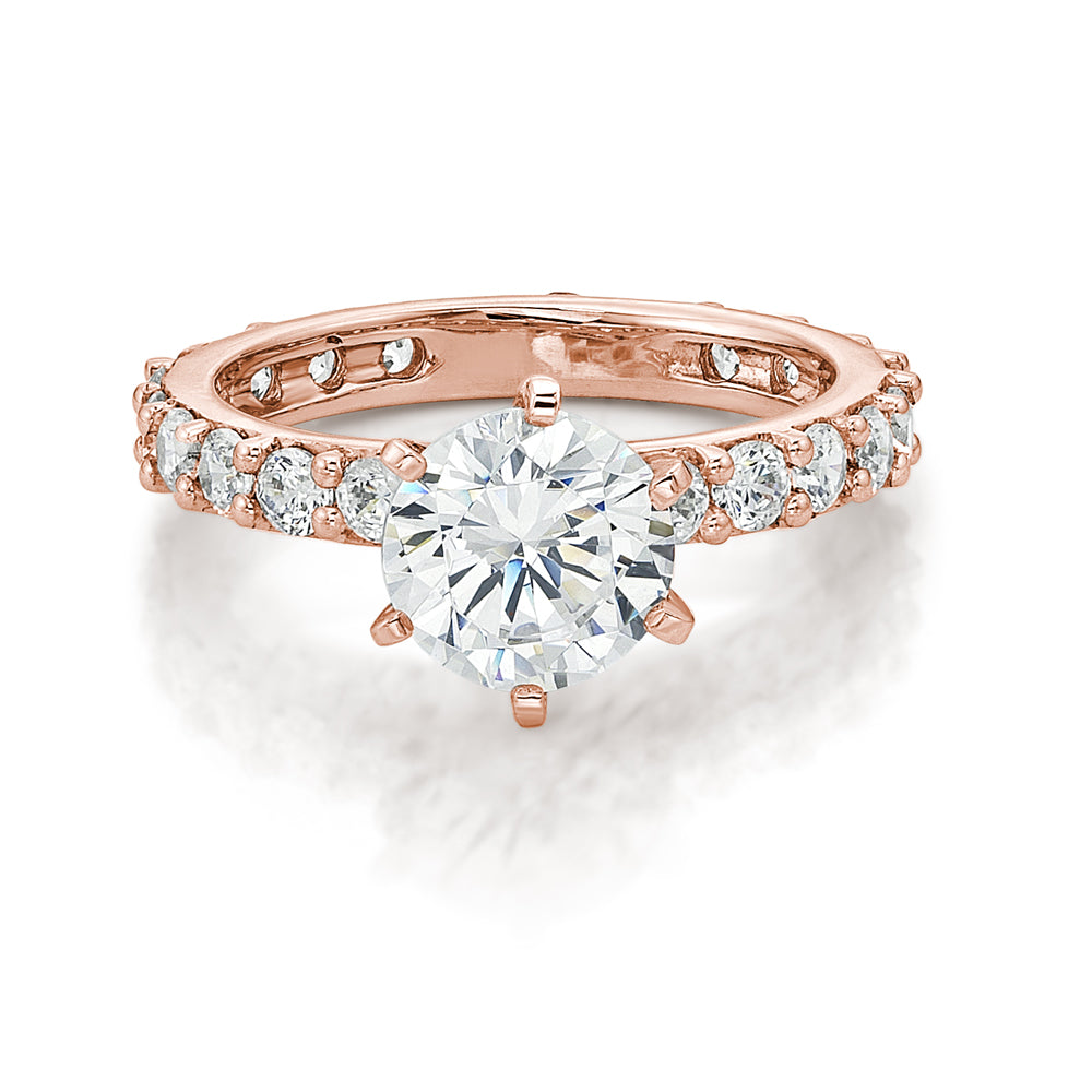 Claw Set Round Brilliant Engagement Ring in Rose Gold