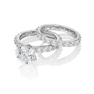 Claw Set Round Brilliant Engagement and Band Set in White Gold