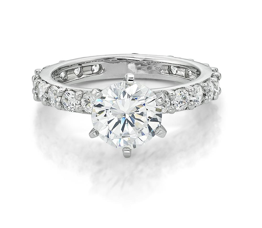 Claw Set Round Brilliant Engagement Ring in White Gold