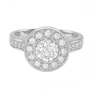 Round Brilliant Bezel Set Ring in White Gold