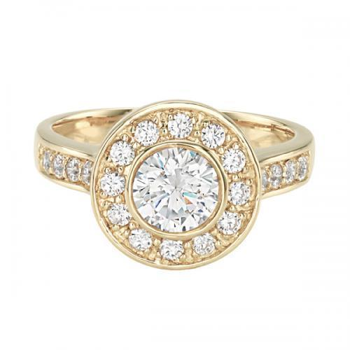 Round Brilliant Bezel Set Ring in Yellow Gold